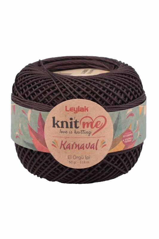 LEYLAK - Knit me Karnaval El Örgü İpi Koyu Kahverengi 00811 50 gr.