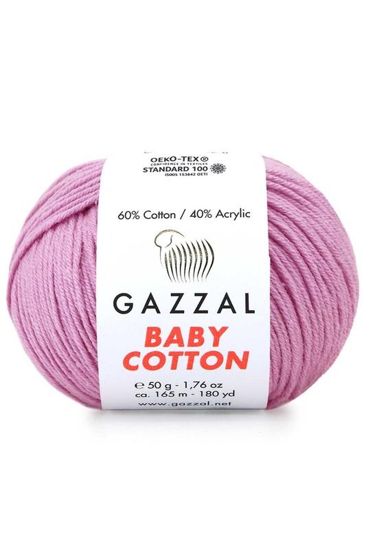 Gazzal - Gazzal Baby Cotton El Örgü İpi Pembe 3422