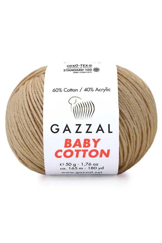 Gazzal - Gazzal Baby Cotton El Örgü İpi Koyu Bej 3424