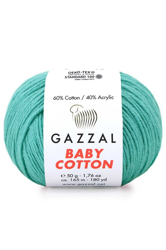 Gazzal - Gazzal Baby Cotton El Örgü İpi Turkuaz 3426