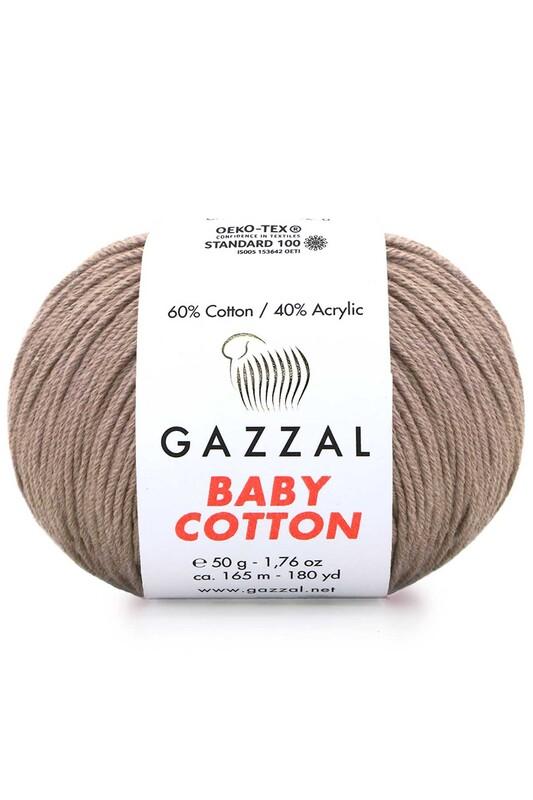 Gazzal - Gazzal Baby Cotton El Örgü İpi Açık Kahve 3434