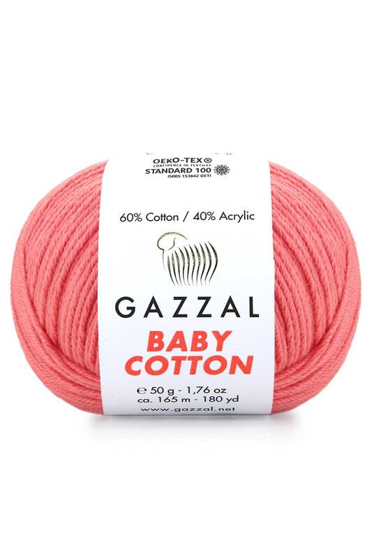 Gazzal - Gazzal Baby Cotton El Örgü İpi Pembe 3435