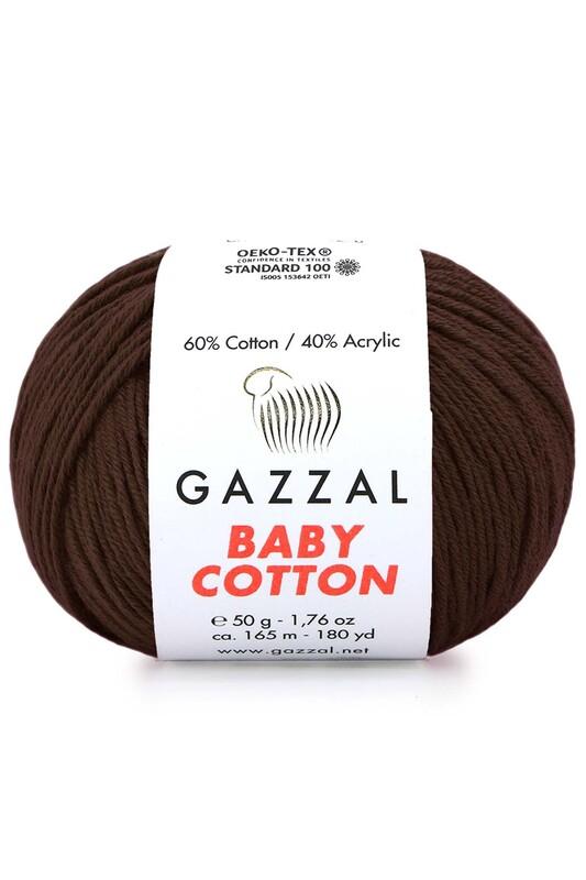 Gazzal - Gazzal Baby Cotton El Örgü İpi Kahverengi 3436