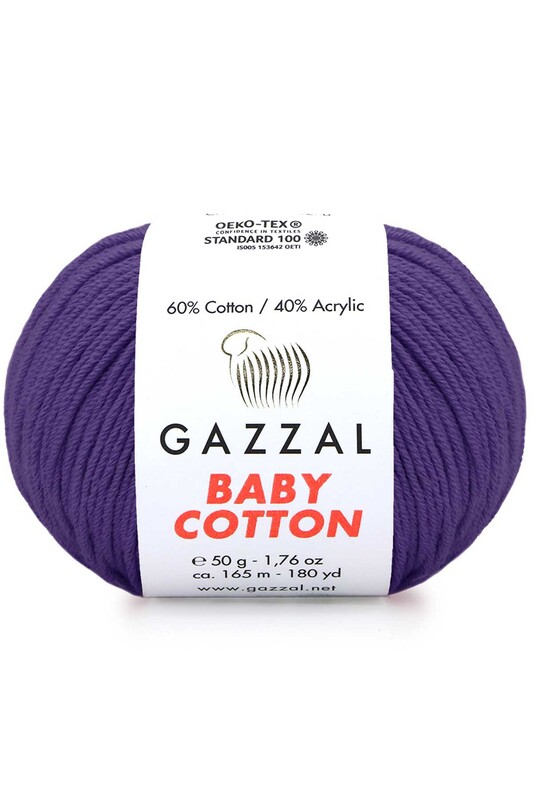 Gazzal - Gazzal Baby Cotton El Örgü İpi Mor 3440