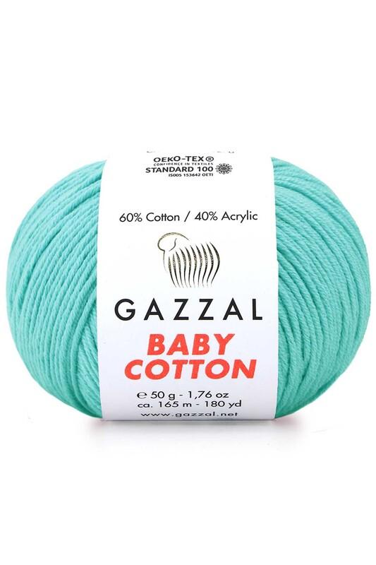Gazzal - Gazzal Baby Cotton El Örgü İpi Turkuaz 3452