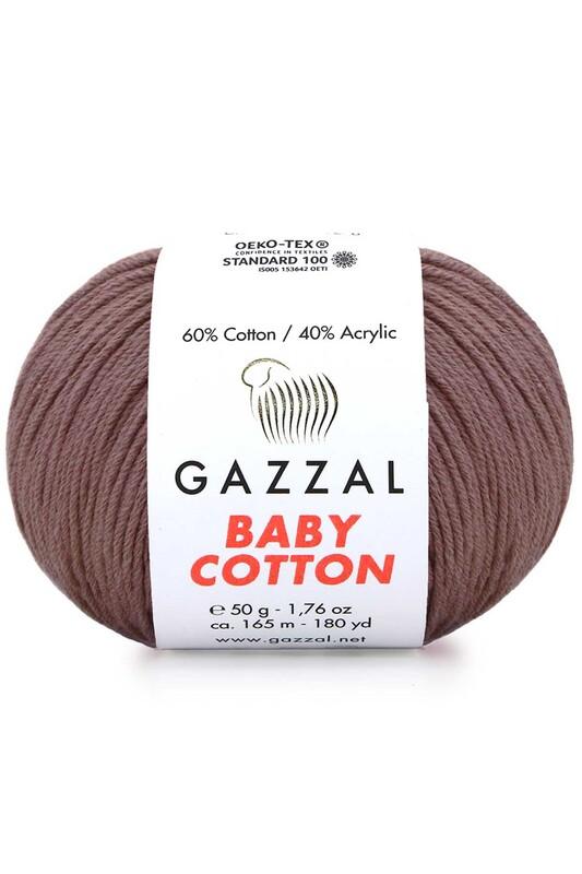 Gazzal - Gazzal Baby Cotton El Örgü İpi Kahverengi 3455