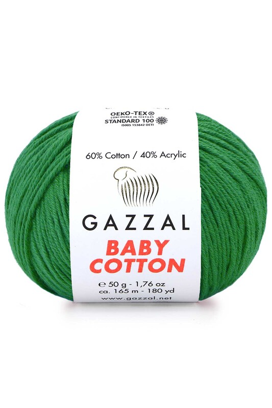 Gazzal - Gazzal Baby Cotton El Örgü İpi Yeşil 3456