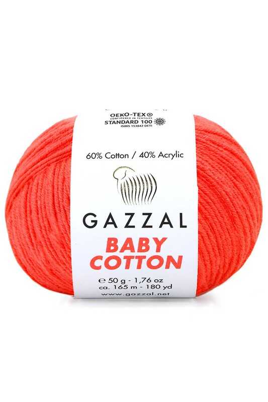 Gazzal - Gazzal Baby Cotton El Örgü İpi Turuncu 3459