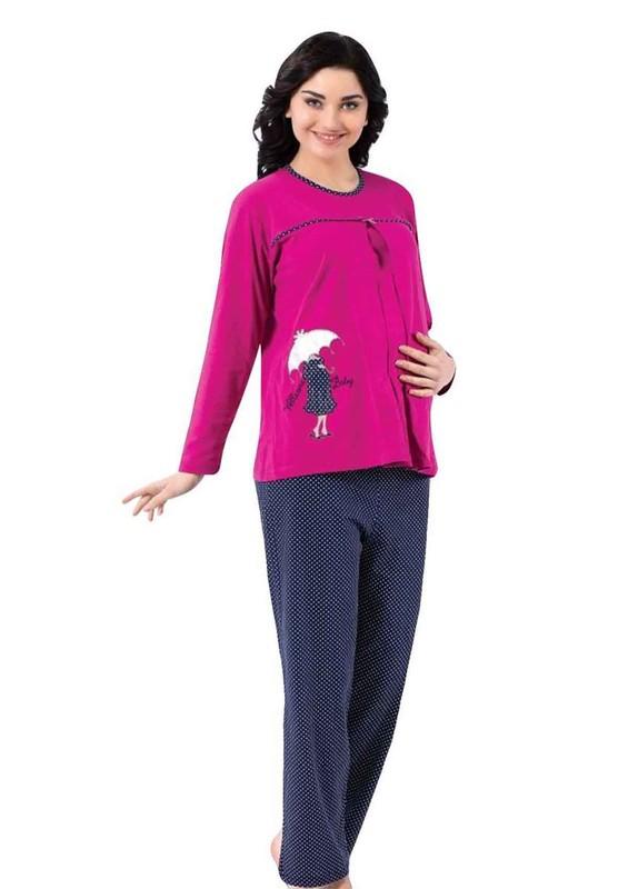 AKASYA - Puantiyeli Kurdeleli Hamile Pijama Takımı 5183 | Fuşya