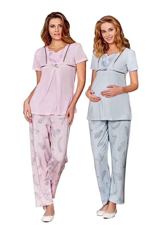 BERRAK - Berrak Yaprak Desenli Kısa Kollu Hamile Pijama Takımı 453 | Bebe Mavi