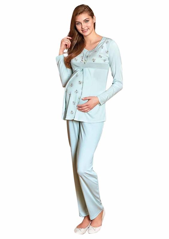 BERRAK - Berrak Desenli Uzun Kollu Hamile Pijama Takımı 308 | Mavi
