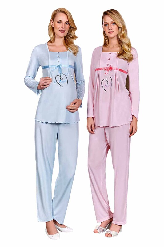 BERRAK - Berrak Kalpli Hamile Pijama Takımı 392 | Mavi