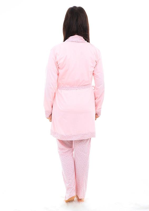 BOYRAZ - Boyraz Beli Bağlamalı Desenli Hamile Pijama Takımı 7103 | Pembe
