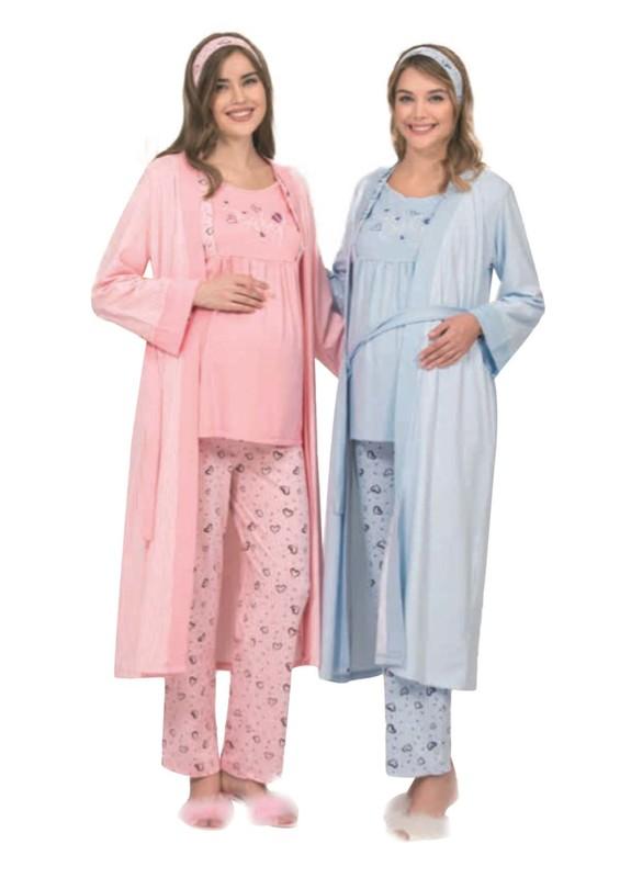 POLEREN - Poleren Kalpli Bağlamalı Lohusa Pijama Takımı 3 ' lü 5952 | Mavi