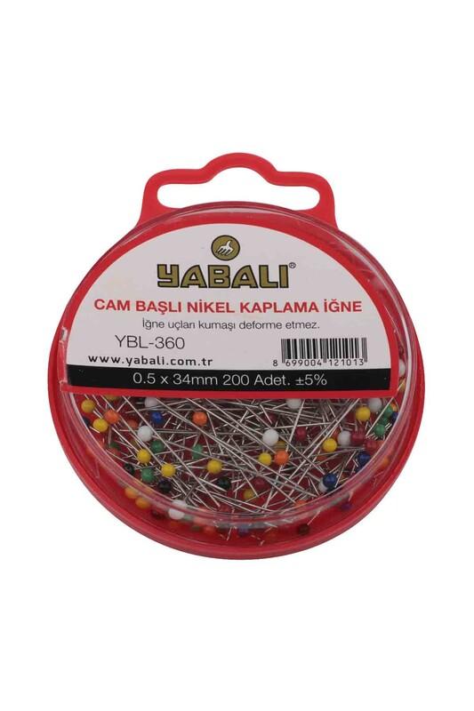 YABALI - Yabalı Cam Başlı Nikel Kaplama İğne 200 Adet YBL-360 | Karışık Renk
