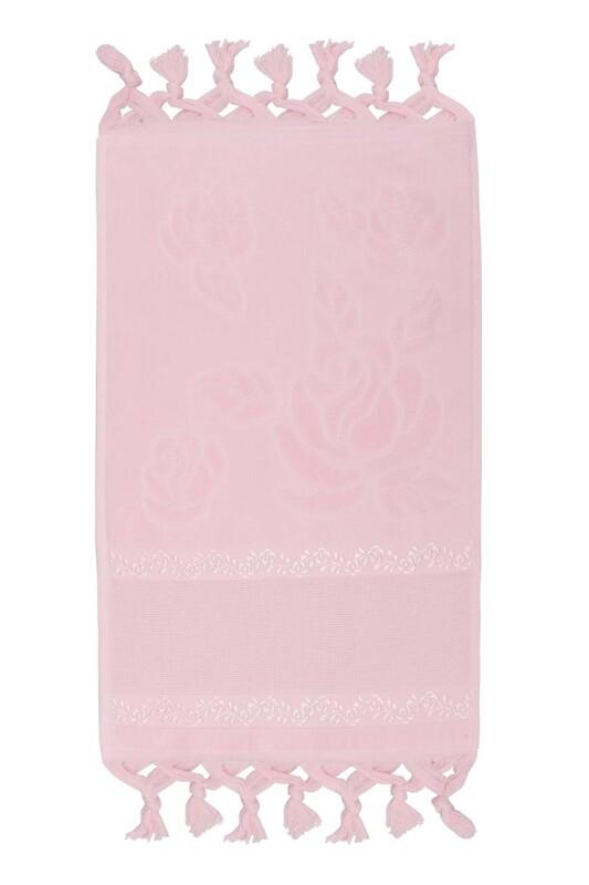 FİESTA - Bağlamalı Saçaklı İşlemelik Havlu 30*50 cm Bebe Pembe
