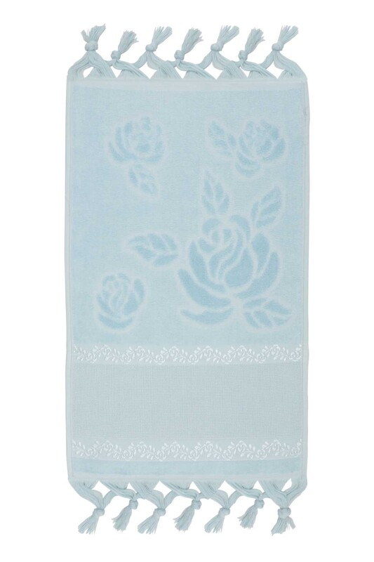 FİESTA - Bağlamalı Saçaklı İşlemelik Havlu 30*50 cm Mavi