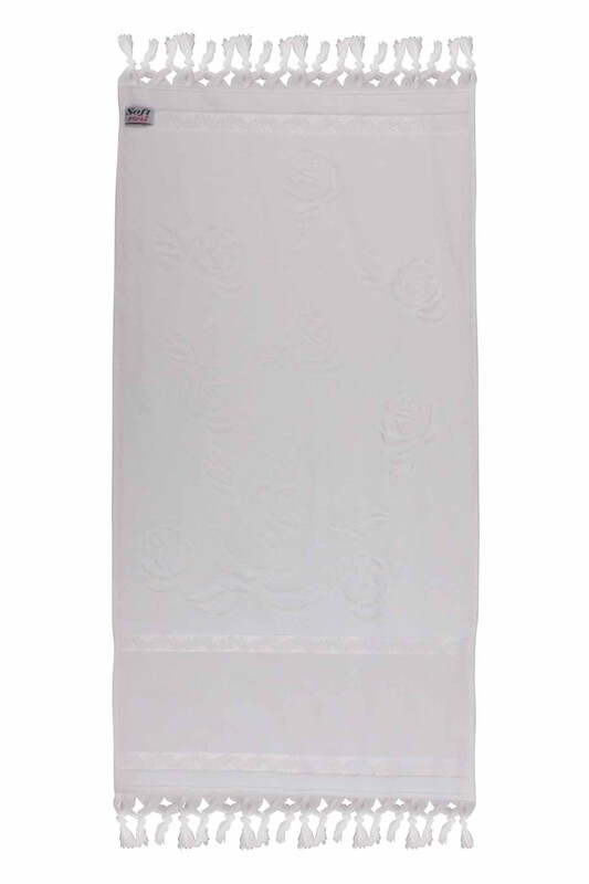 FİESTA - Bağlamalı Saçaklı İşlemelik Havlu 50*90 cm Beyaz