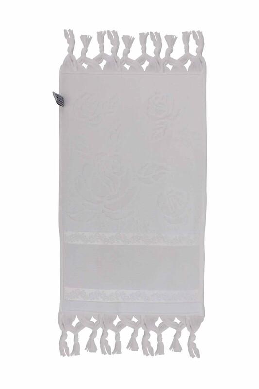 FİESTA - Bağlamalı Saçaklı İşlemelik Havlu 30*50 cm Beyaz