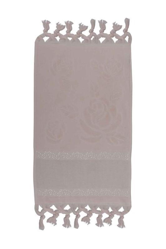 FİESTA - Bağlamalı Saçaklı İşlemelik Havlu 30*50 cm Bej