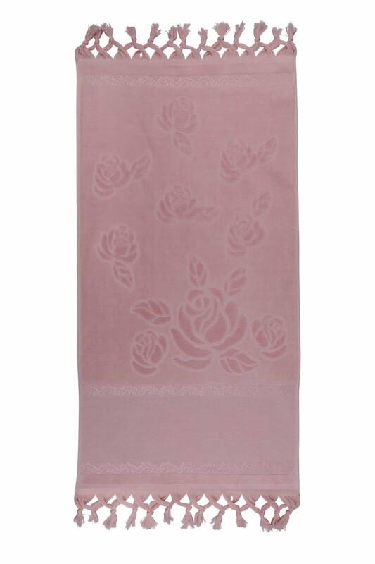 FİESTA - Bağlamalı Saçaklı İşlemelik Havlu 50*90 cm Pudra