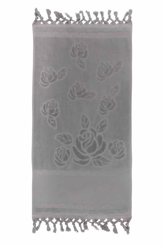 FİESTA - Bağlamalı Saçaklı İşlemelik Havlu 50*90 cm Gri