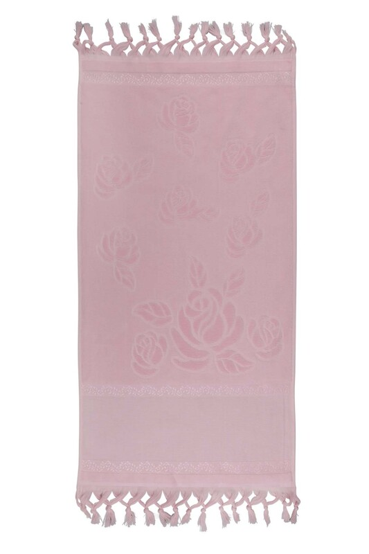 FİESTA - Bağlamalı Saçaklı İşlemelik Havlu 50*90 cm Pembe