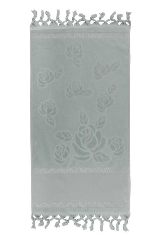 FİESTA - Bağlamalı Saçaklı İşlemelik Havlu 50*90 cm Su Yeşili