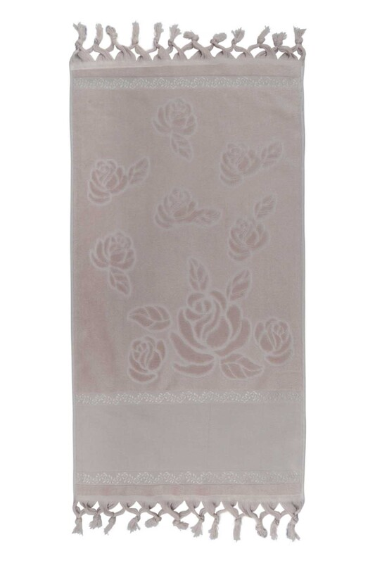 FİESTA - Bağlamalı Saçaklı İşlemelik Havlu 50*90 cm Taş
