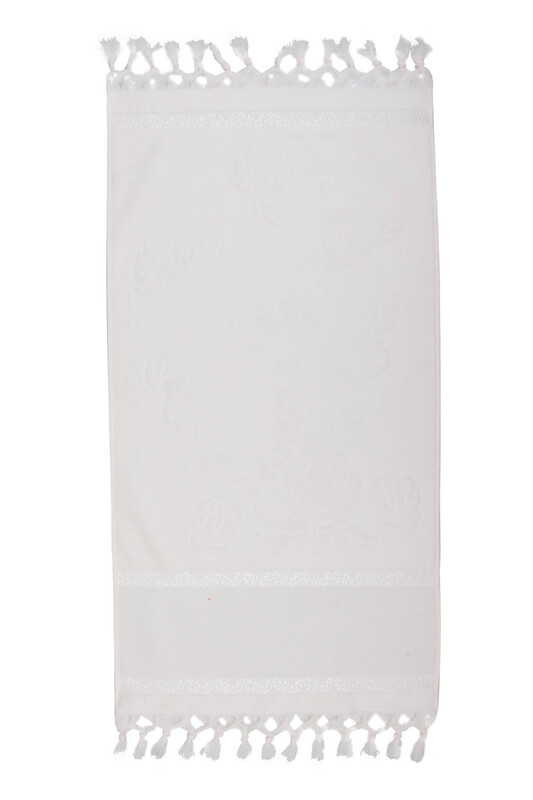 FİESTA - Bağlamalı Saçaklı İşlemelik Havlu 50*90 cm Krem