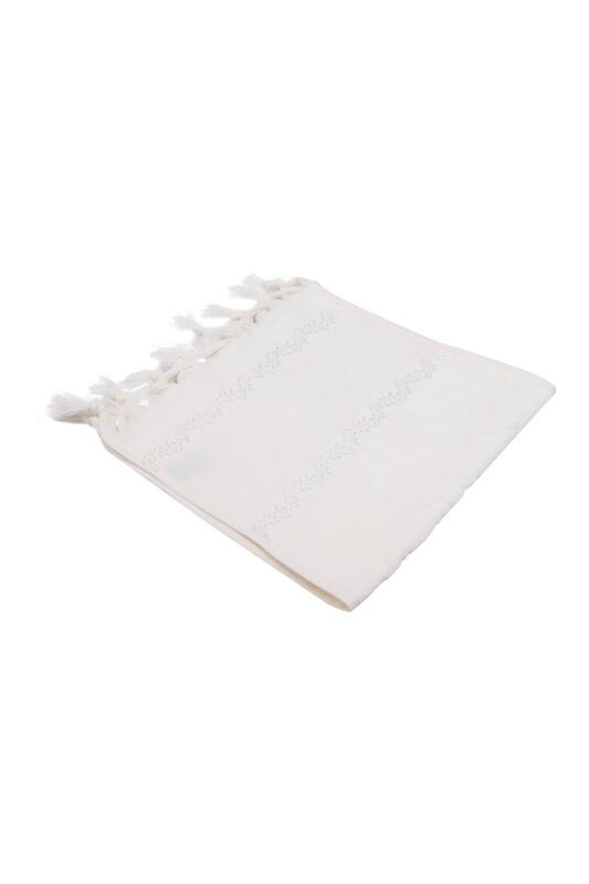 FİESTA - Bağlamalı Saçaklı İşlemelik Havlu 30*50 cm Krem