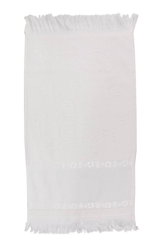 SİMİSSO - Saçaklı İşlemelik Havlu 30*50 cm | Krem