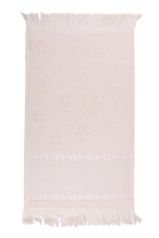 SİMİSSO - Saçaklı İşlemelik Havlu 30*50 cm | Bej