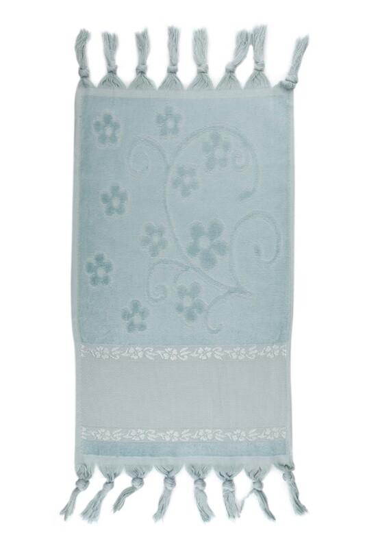 SİMİSSO - Bağlamalı Saçaklı İşlemelik Havlu 30*50 cm | Mavi