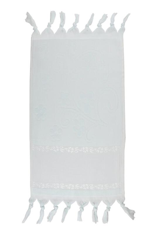 SİMİSSO - Bağlamalı Saçaklı İşlemelik Havlu 30*50 cm | Su Yeşili