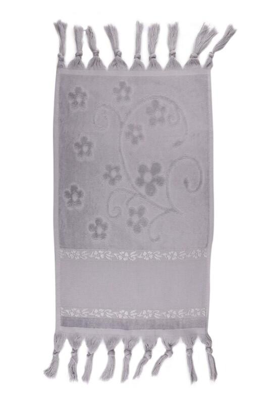 SİMİSSO - Bağlamalı Saçaklı İşlemelik Havlu 30*50 cm | Gri