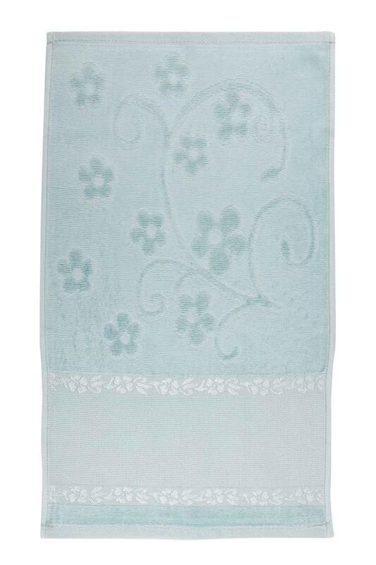 SİMİSSO - Saçaksız İşlemelik Havlu 30*50 cm | Mavi