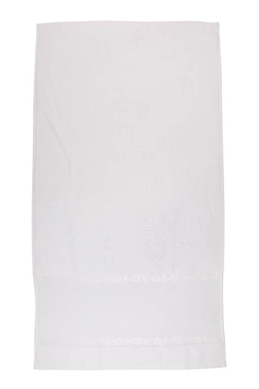 SİMİSSO - Saçaksız İşlemelik Havlu 50*90 cm | Beyaz