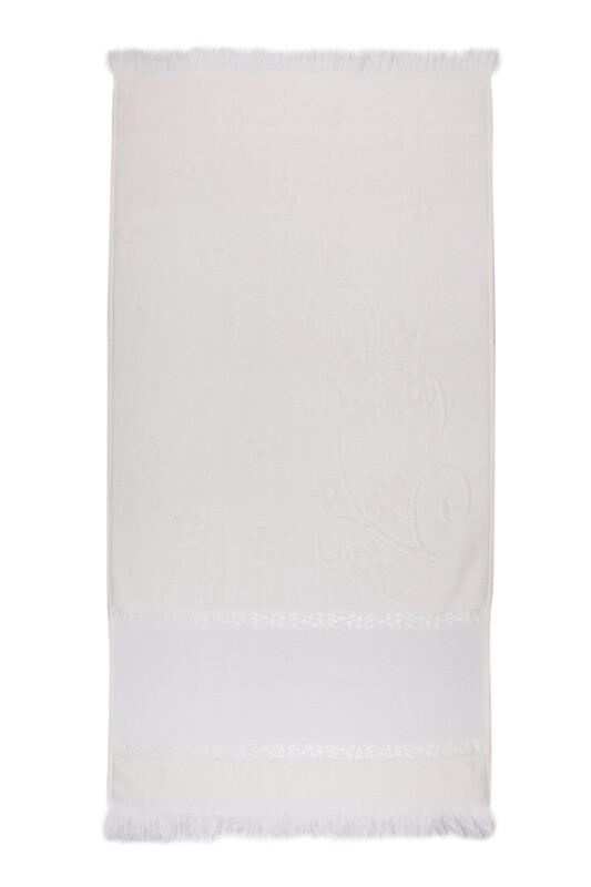 SİMİSSO - Saçaklı İşlemelik Havlu 50*90 cm | Krem