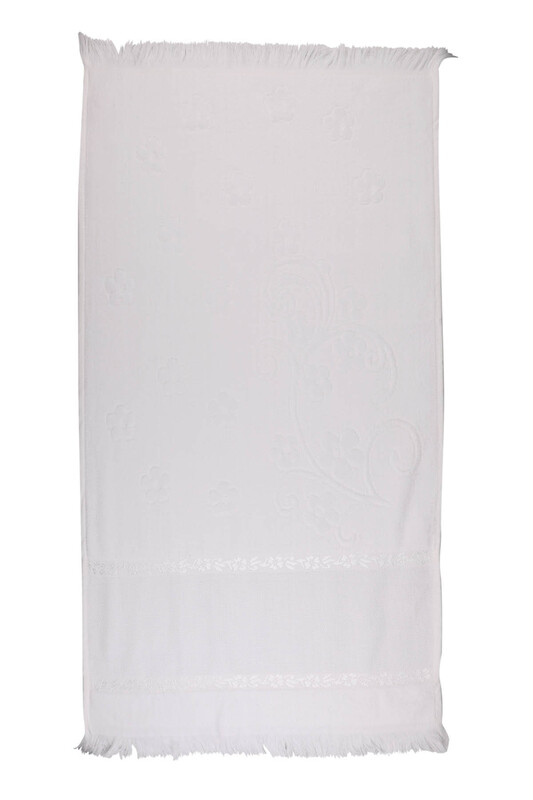 SİMİSSO - Saçaklı İşlemelik Havlu 50*90 cm   Beyaz