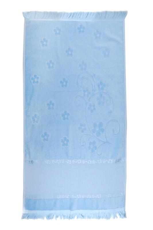 SİMİSSO - Saçaklı İşlemelik Havlu 50*90 cm | Bebe Mavi
