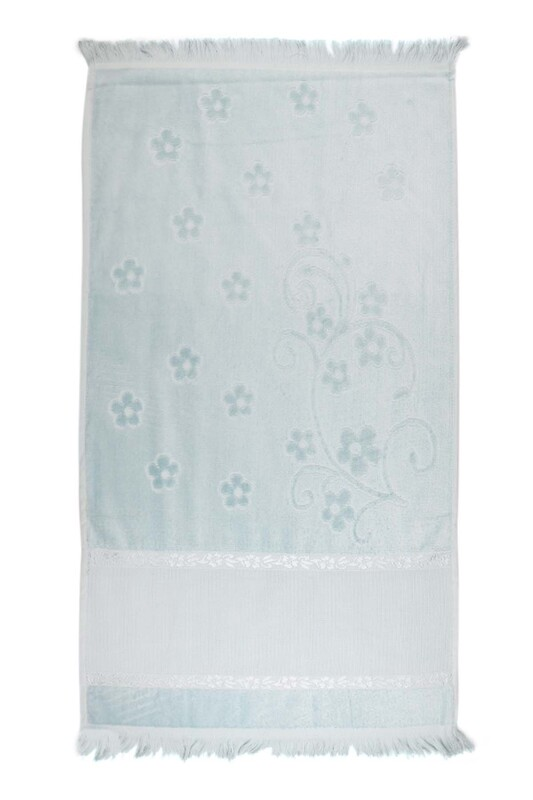 SİMİSSO - Saçaklı İşlemelik Havlu 50*90 cm | Mavi