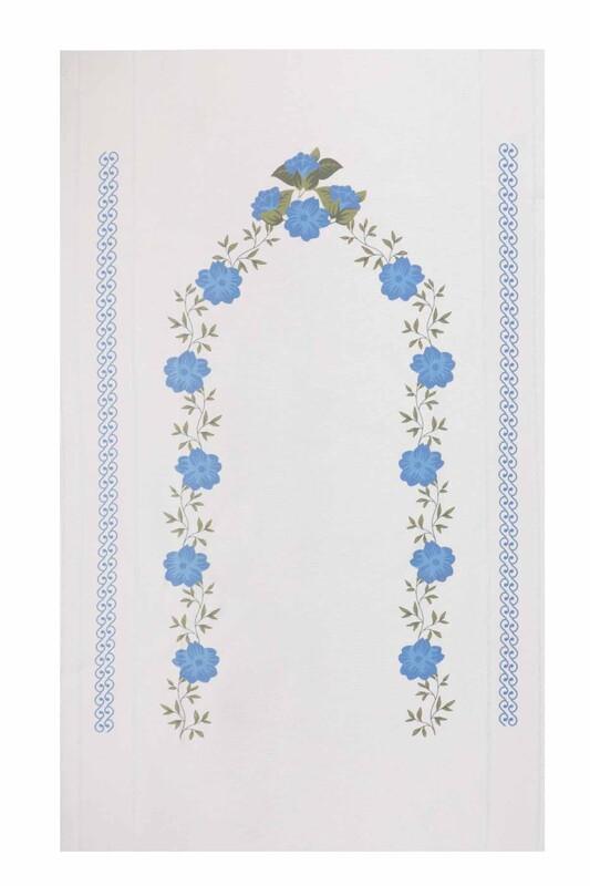 SİMİSSO - Baskılı Keten Ajurlu Etamin İşlemelik Seccade 505   Mavi