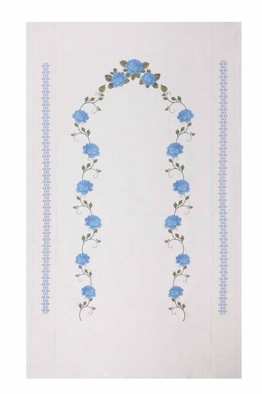 SİMİSSO - Baskılı Keten Ajurlu Etamin İşlemelik Seccade 506 | Mavi