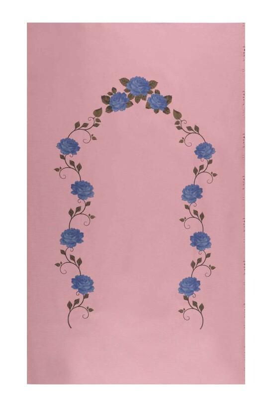 SİMİSSO - Baskılı Etamin İşlemelik Seccade Mavi 506 | Pudra