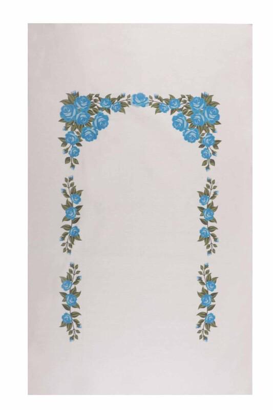 SİMİSSO - Baskılı Etamin İşlemelik Seccade Mavi 507 | Krem