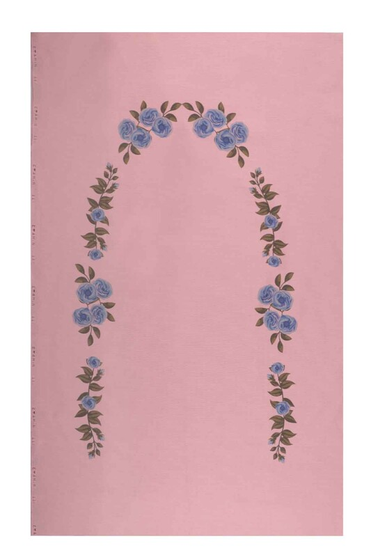 SİMİSSO - Baskılı Etamin İşlemelik Seccade Mavi 509 | Pudra