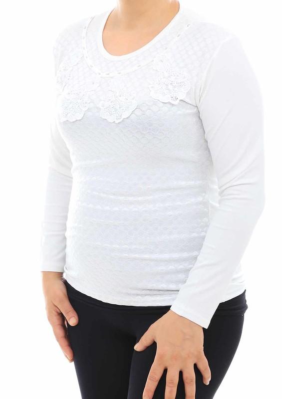 GAMZEY - Yakası Dantel Desenli Uzun Kollu Bluz 581 | Krem