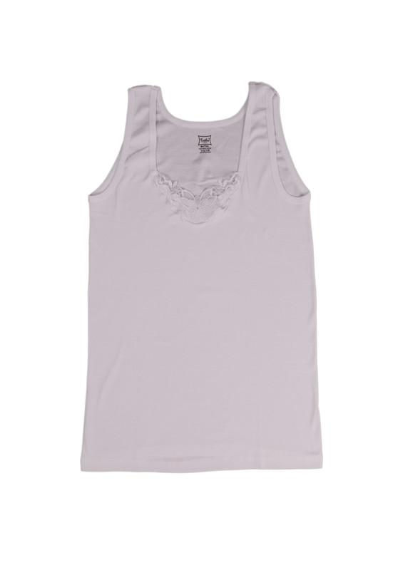 TUTKU - Tutku Ribana Kalın Askılı Güpürlü Atlet 140-13 | Beyaz