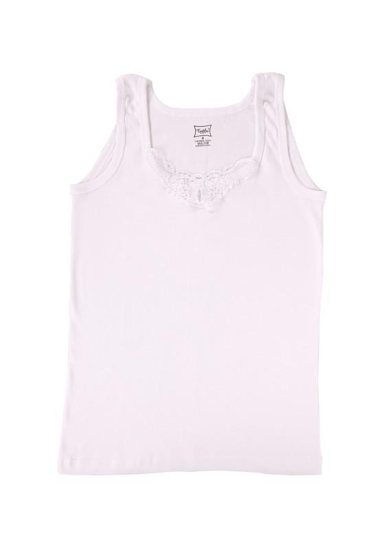 TUTKU - Tutku Ribana Kalın Askılı Güpürlü Atlet 140-7 | Beyaz